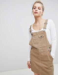 Светло-бежевое вельветовое платье-комбинезон ASOS DESIGN - Светло-бежевый