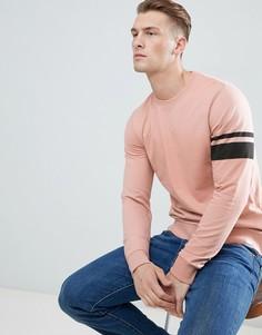 Свитшот с полосками на рукавах Only & Sons - Розовый