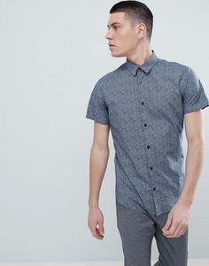 Рубашка с короткими рукавами и сплошным принтом Selected Homme - Темно-синий