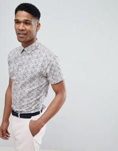 Рубашка с короткими рукавами и сплошным принтом Selected Homme - Розовый