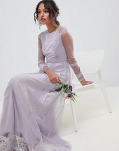 Платье макси из сетки добби с кружевом и длинными рукавами ASOS DESIGN Bridesmaid - Фиолетовый