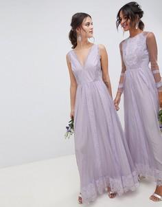 Платье макси из сетки добби с кружевом ASOS DESIGN Bridesmaid - Фиолетовый