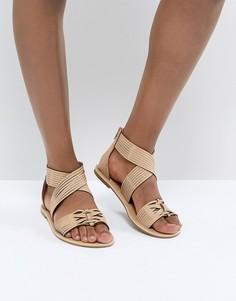 Светло-коричневые кожаные сандалии Glamorous - Рыжий