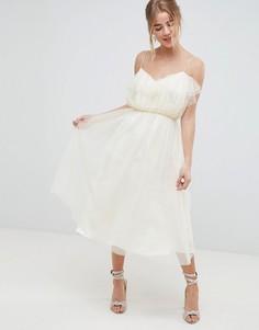 Платье для выпускного миди из сетки добби с оборкой ASOS DESIGN - Белый