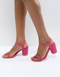 Розовые босоножки на блочном каблуке Glamorous - Розовый