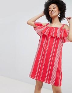 Платье в полоску на пуговицах с открытыми плечами Only - Красный
