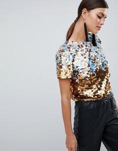 Премиум-футболка с отделкой пайетками и эффектом омбре ASOS DESIGN - Золотой