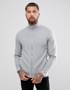 Серая спортивная куртка из трикотажа в рубчик ASOS DESIGN - Серый