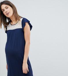 Трикотажное свободное платье со вставкой кроше Mamalicious - Темно-синий Mama.Licious