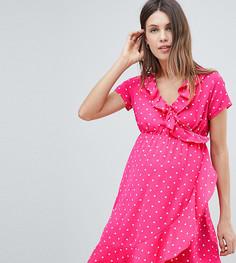 Платье в горошек с запахом и оборками Mamalicious - Розовый Mama.Licious