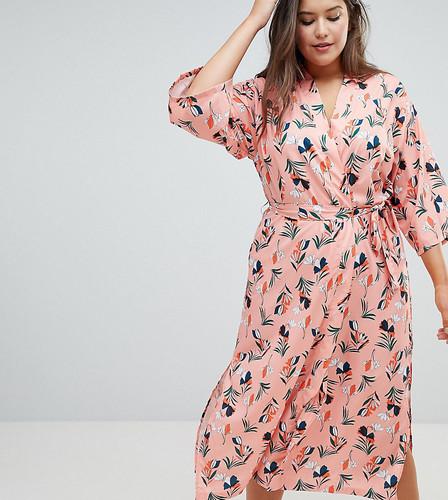Платье миди с цветочным принтом и ремнем Uttam Boutique Plus - Черный