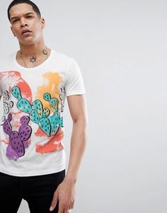 Белая футболка с ярким принтом кактусов Antony Morato - Белый