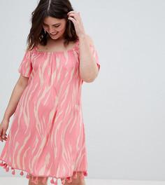 Платье с принтом, открытыми плечами и помпонами Junarose - Мульти