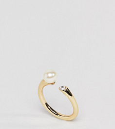 Разомкнутое позолоченное кольцо с отделкой кристаллами Shashi - Золотой
