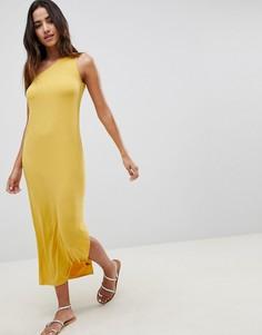 Прямое платье макси на одно плечо ASOS DESIGN - Желтый