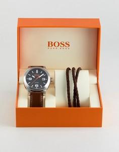 Подарочный набор из часов с коричневым ремешком и браслета BOSS Orange By Hugo Boss - Коричневый