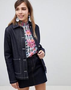 Джинсовая куртка в стиле милитари цвета индиго ASOS DESIGN - Синий