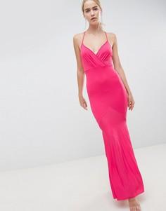 Платье макси с запахом и плиссированной юбкой годе ASOS DESIGN - Розовый