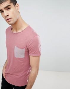 Розовая футболка с карманом в полоску Tom Tailor - Розовый