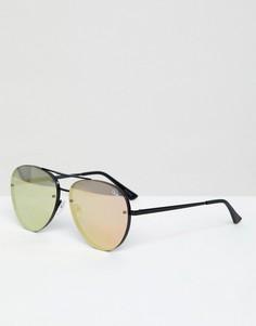 Солнцезащитные очки-авиаторы в черной оправе Quay Australia X Missguided Cool Innit - Черный