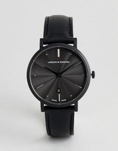 Часы с черным кожаным ремешком Larsson & Jennings Aurora 38 мм - Черный