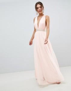 Платье макси из тюля с отделкой на талии ASOS DESIGN - Розовый