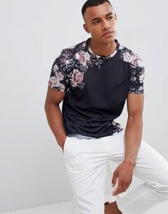 Черная футболка с принтом роз Burton Menswear - Черный