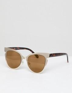 Золотистые зеркальные солнцезащитные очки кошачий глаз AJ Morgan - Золотой
