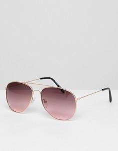 Розовые солнцезащитные очки-авиаторы с планкой над переносицей AJ Morgan - Золотой