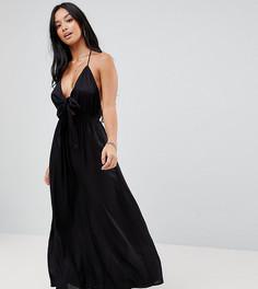 Пляжное платье макси с завязкой ASOS PETITE - Черный