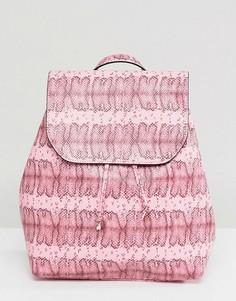 Рюкзак с эффектом змеиной кожи Pieces - Розовый