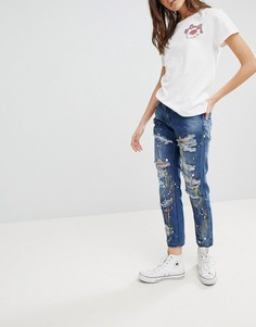 Рваные джинсы бойфренда с принтом брызг краски Glamorous - Синий