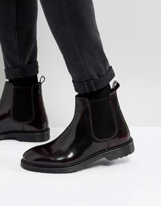Бордовые кожаные ботинки челси ASOS - Красный