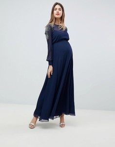 Платье макси для беременных с отделкой на плечах ASOS DESIGN - Темно-синий