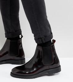 Бордовые кожаные ботинки челси для широкой стопы ASOS - Красный
