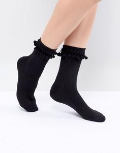 Черные носки с помпонами ASOS DESIGN - Черный