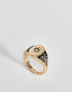 Винтажное кольцо на мизинец с печаткой ASOS DESIGN - Золотой