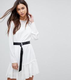 Платье мини с длинными рукавами и поясом ASOS TALL - Белый