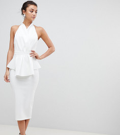 Платье миди с бретелью через шею и запахом ASOS TALL PREMIUM - Белый