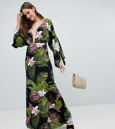 Пляжное платье макси с длинными рукавами и тропическим принтом ASOS DESIGN Tall - Мульти