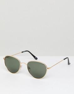 Круглые солнцезащитные очки с поляризованными стеклами ASOS - Золотой