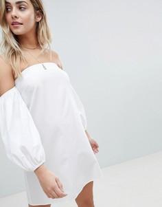 Хлопковое платье мини с открытыми плечами ASOS DESIGN - Белый