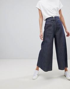 Джинсы с широкими штанинами и контрастными строчками Emporio Armani - Синий