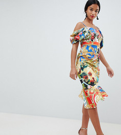 Платье миди с открытыми плечами и принтом ASOS DESIGN Petite - Мульти