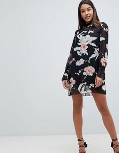 Платье А-силуэта с длинными рукавами и цветочным принтом AX Paris - Мульти