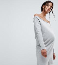 Трикотажное платье с открытыми плечами и необработанными краями ASOS DESIGN Maternity - Серый