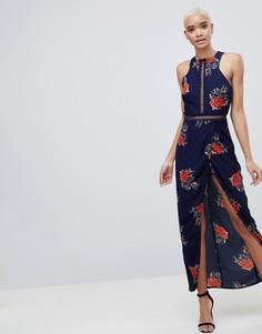 Платье макси с запахом и цветочным принтом Girl In Mind - Темно-синий