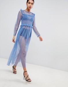 Сетчатое платье макси Love - Синий