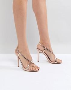 Золотисто-розовые босоножки на каблуке с ремешками Dune - Золотой