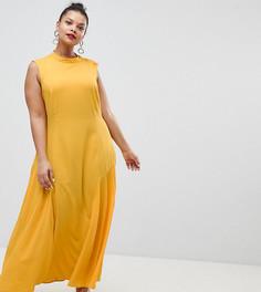 Платье макси с плиссировкой ASOS DESIGN Curve - Желтый